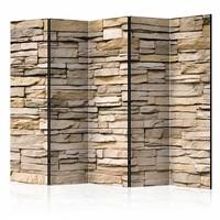 Vouwscherm - Decoratieve stenen 225x172cm  , gemonteerd geleverd, dubbelzijdig geprint (kamerscherm)