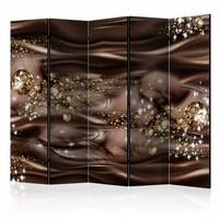 Vouwscherm - Chocolade rivier 225x172cm  , gemonteerd geleverd (kamerscherm)