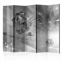 Vouwscherm - Abstract in grijs 225x172cm  , gemonteerd geleverd (kamerscherm)