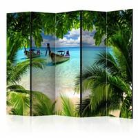 Vouwscherm - Tropisch paradijs 225x172cm  , gemonteerd geleverd, dubbelzijdig geprint (kamerscherm)
