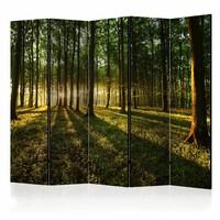 Vouwscherm - Ochtend in het bos 225x172cm  , gemonteerd geleverd, dubbelzijdig geprint (kamerscherm)