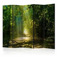 Vouwscherm - Zonlicht door de bomen, bos 225x172cm  , gemonteerd geleverd, dubbelzijdig geprint (kamerscherm)