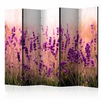 Vouwscherm - Lavendel in de regen 225x172cm  , gemonteerd geleverd (kamerscherm)