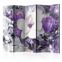 Vouwscherm - Bloemen in het paars 225x172cm  , gemonteerd geleverd, dubbelzijdig geprint (kamerscherm)