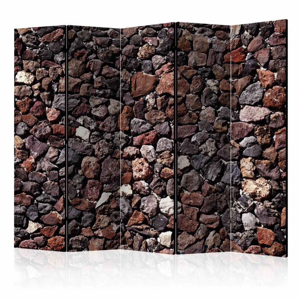 Vouwscherm - Kasteel muur 225x172cm , gemonteerd geleverd, dubbelzijdig geprint (kamerscherm)