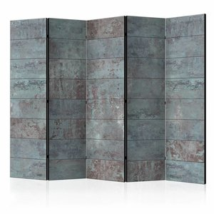 Vouwscherm - Turquoise Beton 225x172cm  , gemonteerd geleverd, dubbelzijdig geprint (kamerscherm)