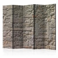 Vouwscherm - Stenen muur 225x172cm  , gemonteerd geleverd, dubbelzijdig geprint (kamerscherm)