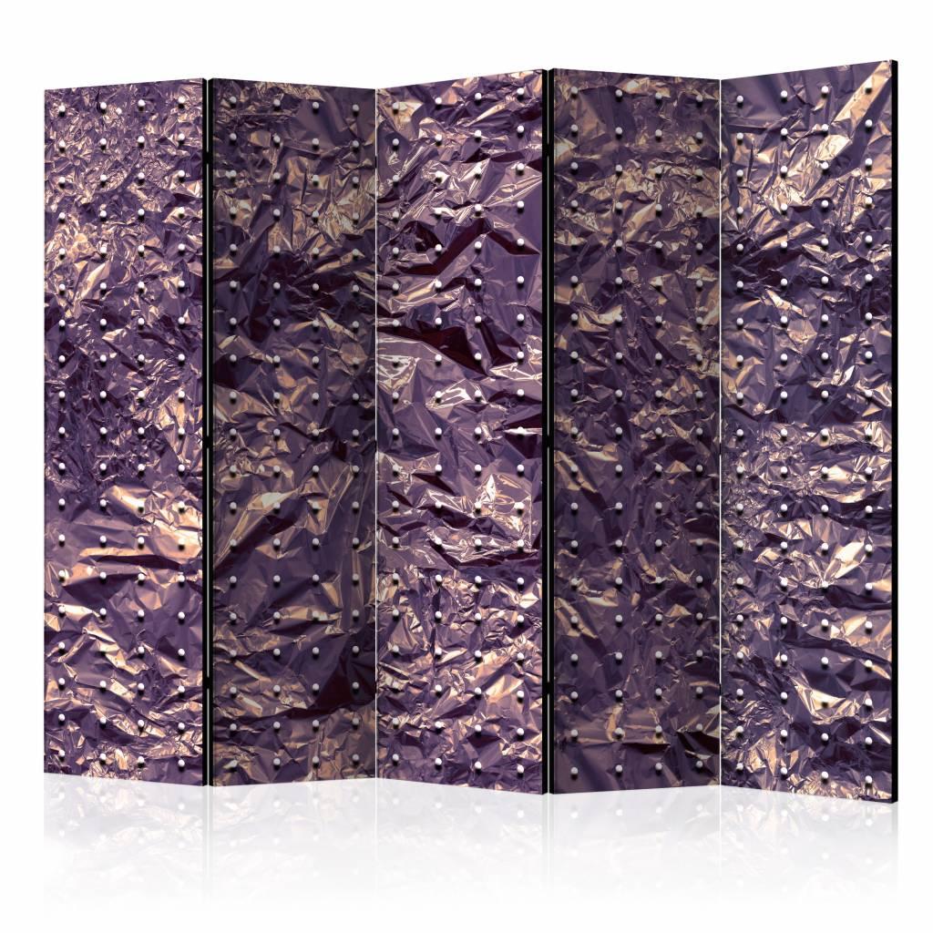 Vouwscherm - Paars gekreukeld 225x172cm