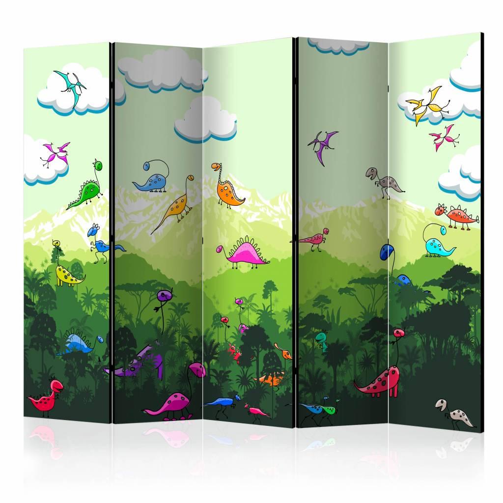 Vouwscherm - Kleurrijke dinosaurussen 225x172cm