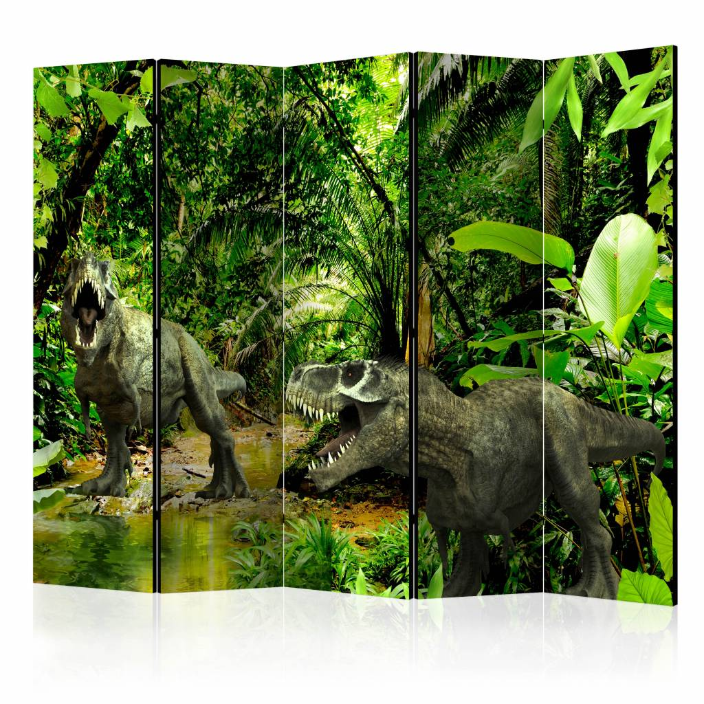 Vouwscherm - Dinosaurussen in de jungle 225x172cm