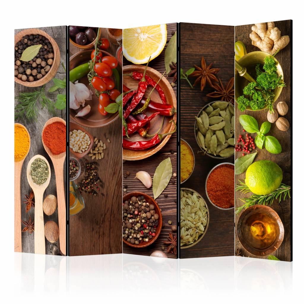 Vouwscherm - Smaken van de wereld, keuken 225x172cm