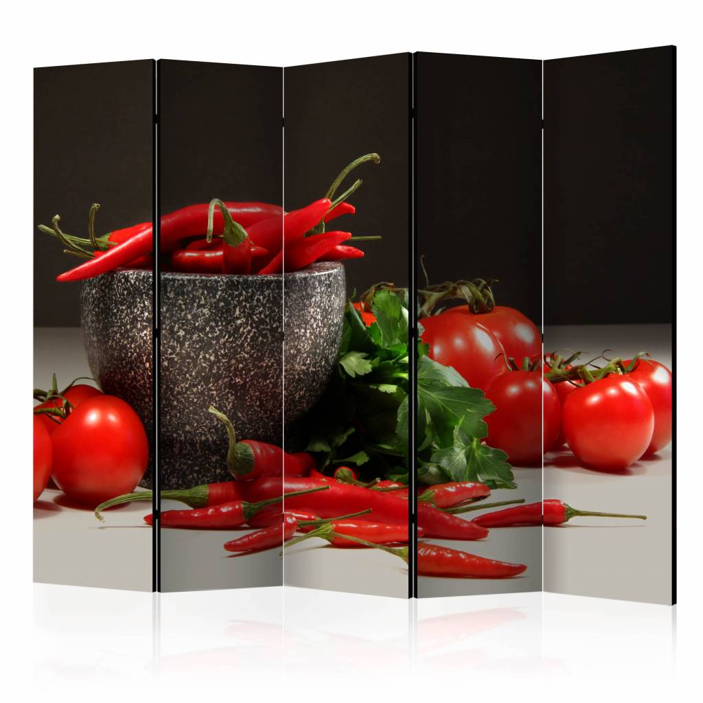 Vouwscherm - Rode pepers 225x172cm