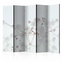 Vouwscherm - Witte bloemen 225x172cm, gemonteerd geleverd, dubbelzijdig geprint (kamerscherm)
