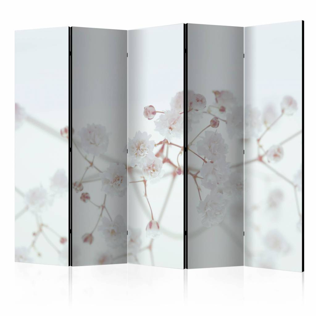 Vouwscherm - Witte bloemen 225x172cm