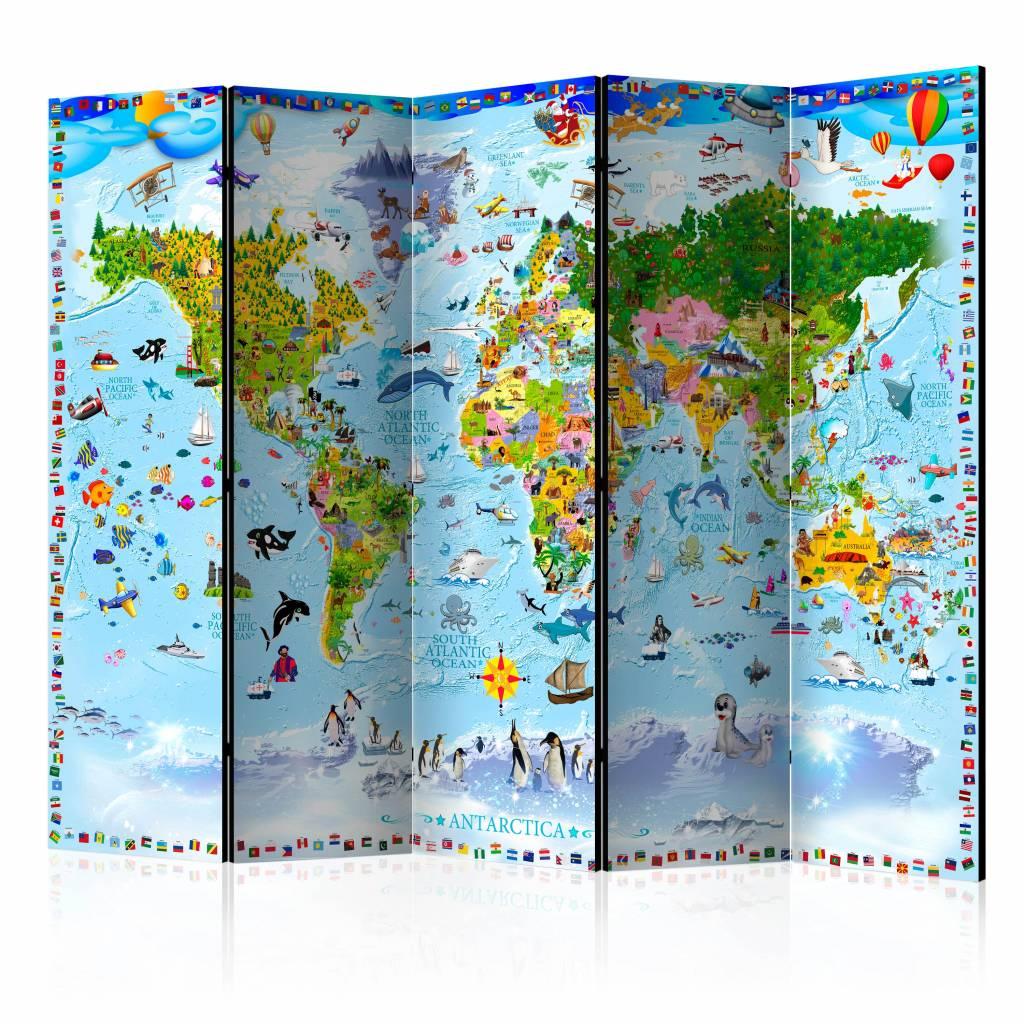 Vouwscherm - Wereldkaart voor kinderen 225x172cm