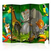 Vouwscherm - Kleurrijke safari 225x172cm