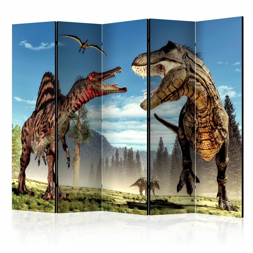 Vouwscherm - Dinosaurussen vechten 225x172cm