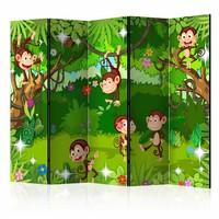 Vouwscherm - Lieve aapjes 225x172cm