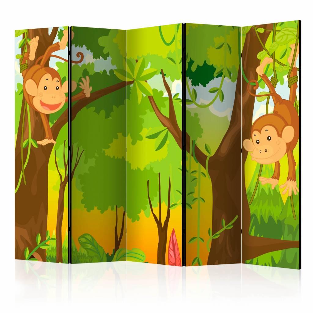 Vouwscherm - Jungle aapjes 225x172cm