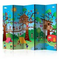 Vouwscherm - Kinderkamp 225x172cm, gemonteerd geleverd, dubbelzijdig geprint (kamerscherm)