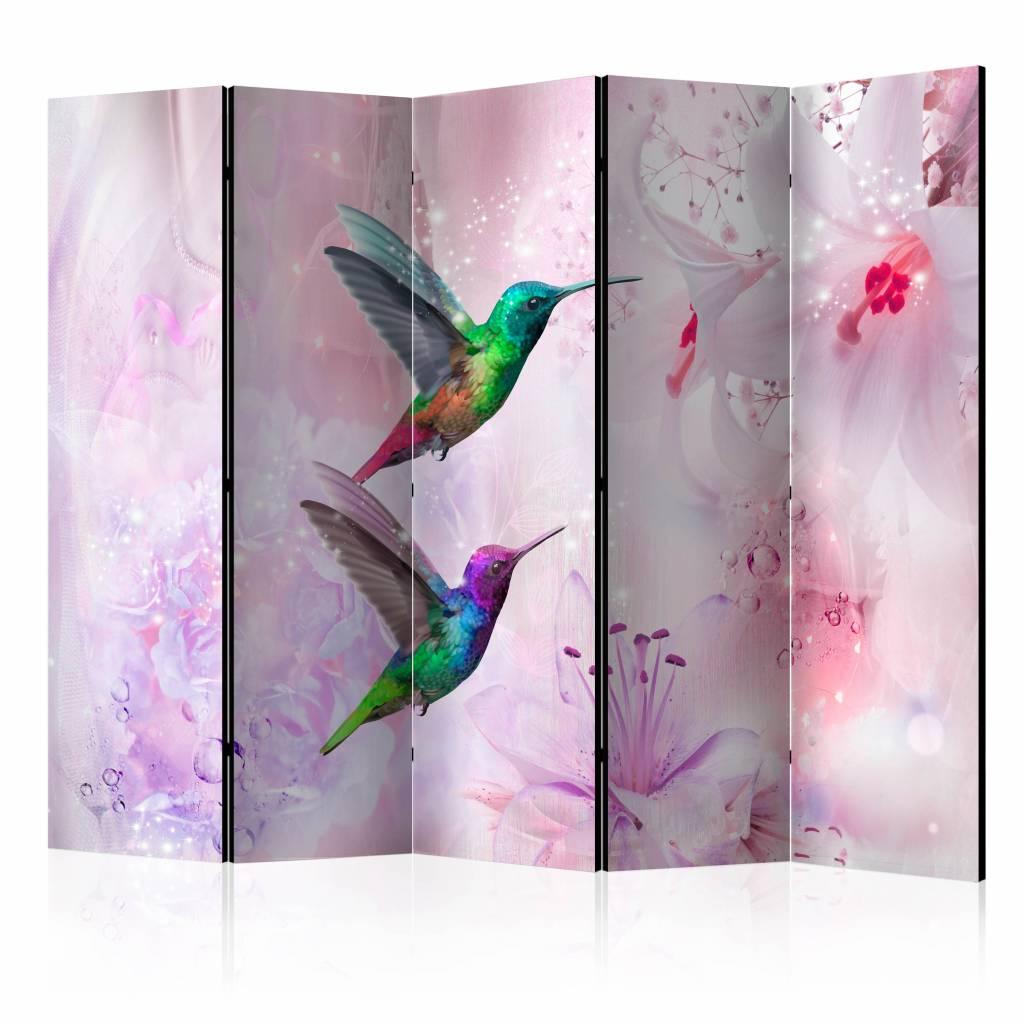 Vouwscherm - Kleurrijke kolibries 225x172cm