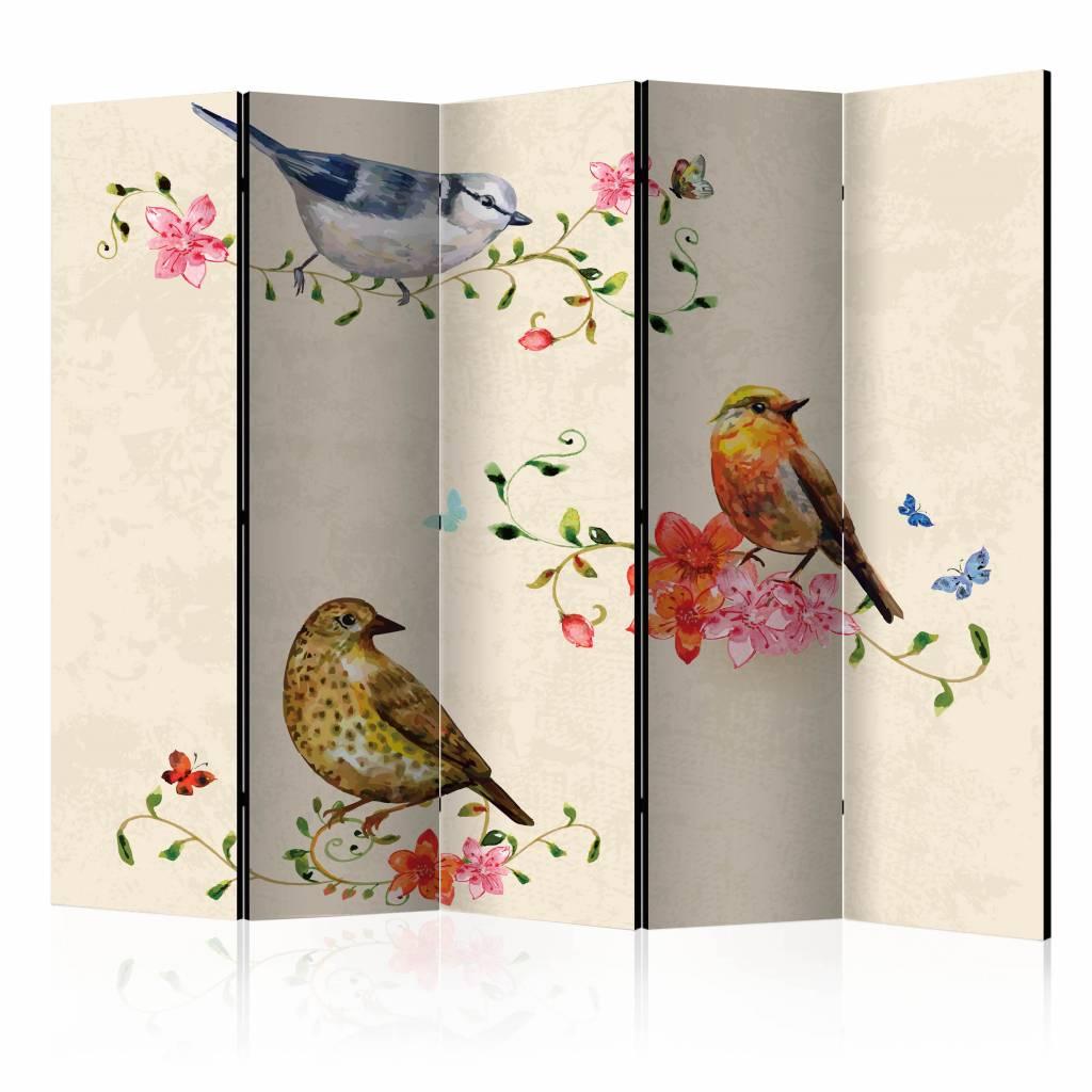 Vouwscherm - Lied van vogels 225x172cm