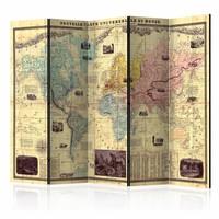 Vouwscherm - Wereldkaart 225x172cm