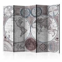 Vouwscherm - Oude wereldkaart 225x172cm  , gemonteerd geleverd, dubbelzijdig geprint (kamerscherm)
