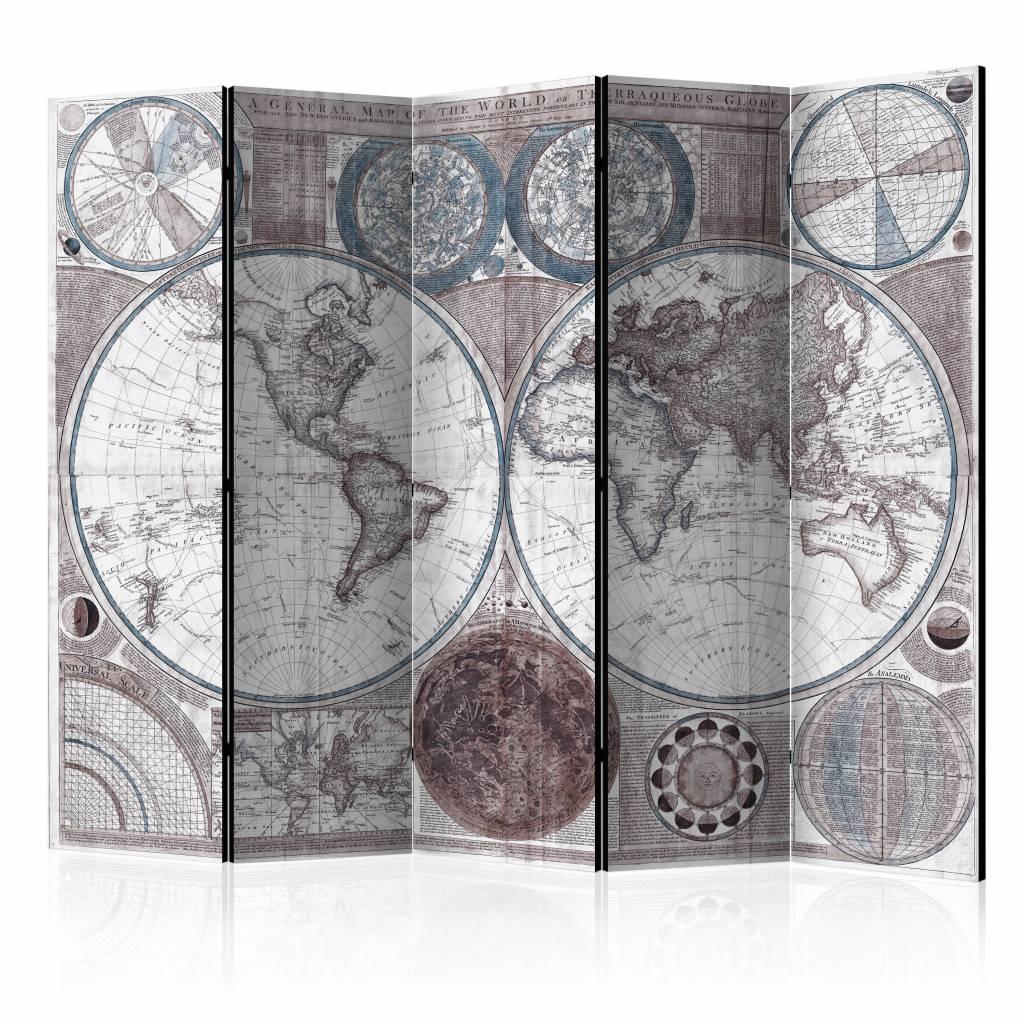 Vouwscherm - Oude wereldkaart 225x172cm