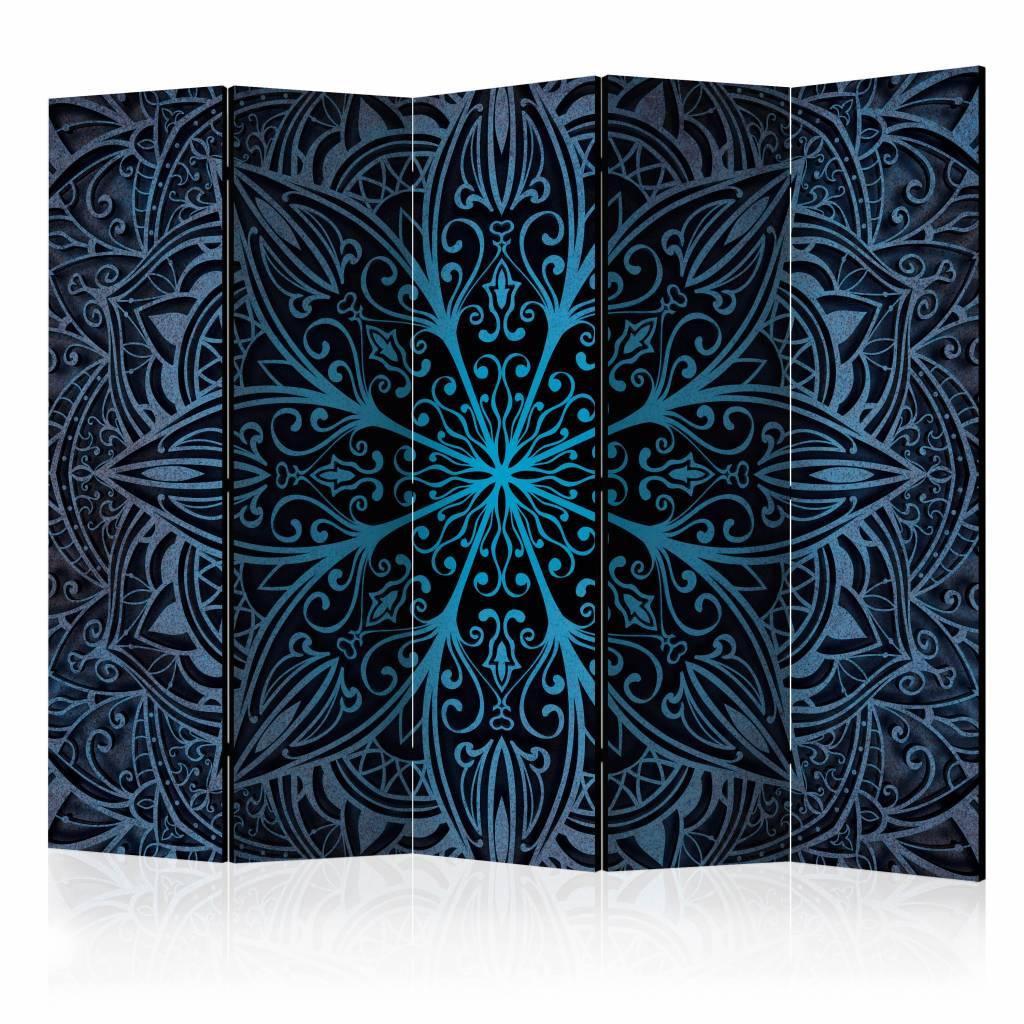 Vouwscherm - Veren, blauw 225x172cm
