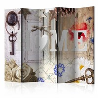 Vouwscherm - Home: Thuis met de sleutel 225x172cm  , gemonteerd geleverd, dubbelzijdig geprint (kamerscherm)