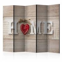 Vouwscherm - Home en een rood hart 225x172cm  , gemonteerd geleverd, dubbelzijdig geprint (kamerscherm)