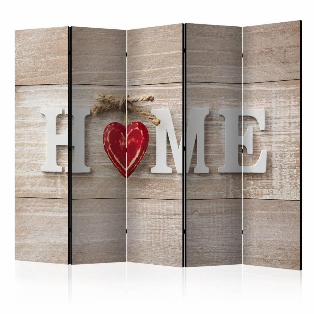 Vouwscherm - Home en een rood hart 225x172cm