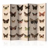 Vouwscherm - Retro Style: Vlinders 225x172cm  , gemonteerd geleverd, dubbelzijdig geprint (kamerscherm)