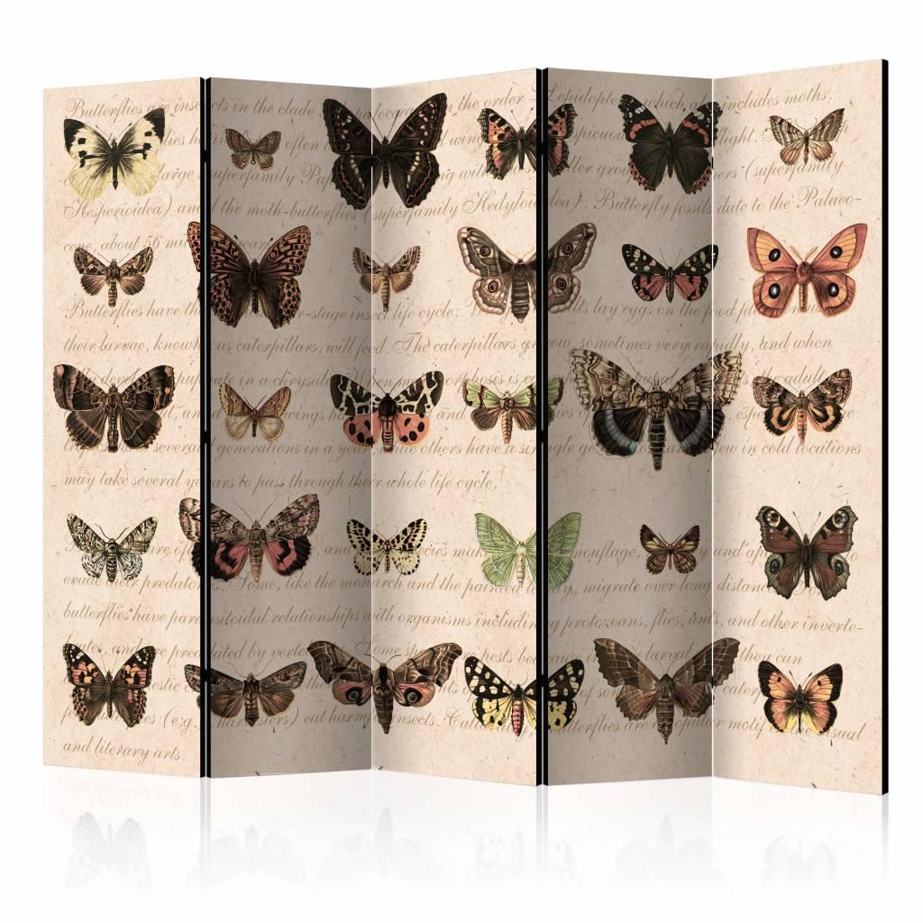 Vouwscherm - Retro Style: Vlinders 225x172cm