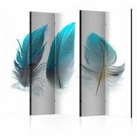 Vouwscherm - Blauwe veren 225x172cm  , gemonteerd geleverd, dubbelzijdig geprint (kamerscherm)