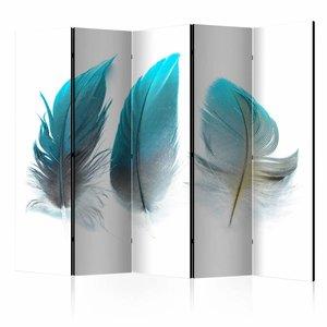 Vouwscherm - Blauwe veren 225x172cm