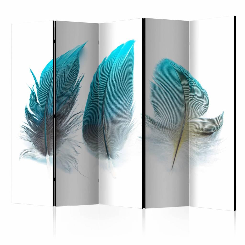 Vouwscherm - Blauwe veren 225x172cm , gemonteerd geleverd (kamerscherm)