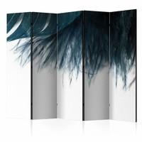 Vouwscherm - Donker blauwe veer II 225x172cm