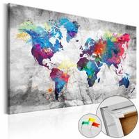 Afbeelding op kurk - Gekleurde wereldkaart, Multi gekleurd, 2 Maten, 1luik