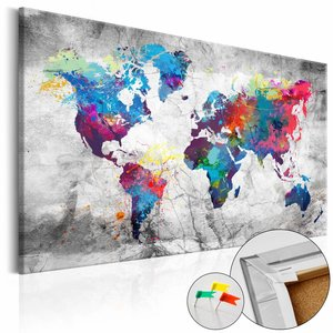 Afbeelding op kurk - Gekleurde wereldkaart