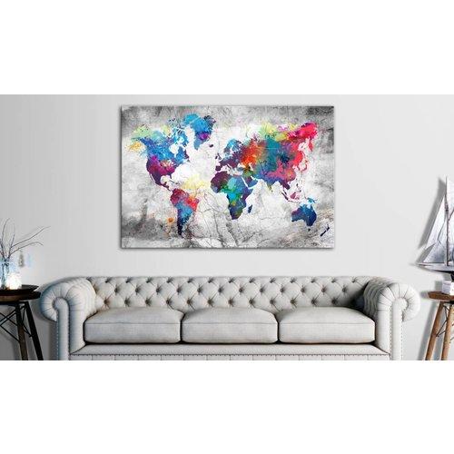 Afbeelding op kurk - Gekleurde Wereldkaart, Multikleur , 1luik