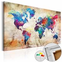 Afbeelding op kurk - Wereldkaart, Urban Style, Multikleur , 1luik