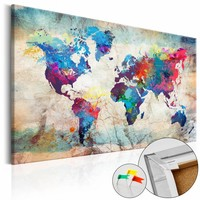 Afbeelding op kurk - Kleur volle wereldkaart