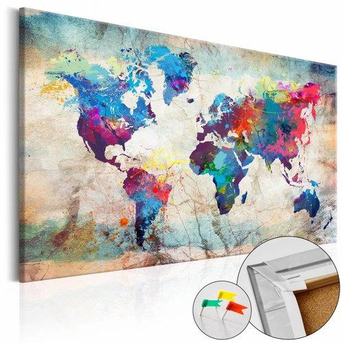 Afbeelding op kurk - Kleur volle wereldkaart, Multi-gekleurd, 2 Maten, 1luik