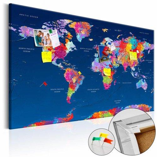 Afbeelding op kurk - Artistieke Fantasie, Wereldkaart, Multikleur, 1luik