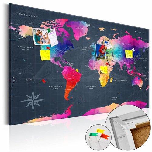 Afbeelding op kurk - Kleurige kristallen, wereldkaart, Multi-gekleurd, 2 Maten, 1luik