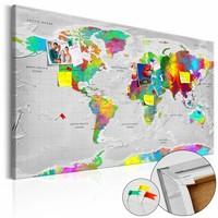 Afbeelding op kurk - Gekleurde Finesse, Wereldkaart, Multikleur , 1luik