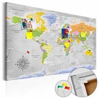 Afbeelding op kurk - Gedetailleerd, Wereldkaart, Multikleur , 1luik