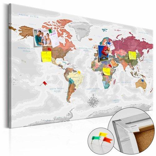 Afbeelding op kurk - Reis Rond De Wereld, Wereldkaart, Multikleur , 1luik